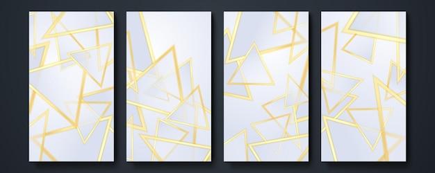 Tło szablonu historii mediów społecznościowych. kolekcja elementów konstrukcyjnych, projektowanie produktów luksusowych. wykonane ze złotymi liniami. na białym tle. ilustracja wektorowa