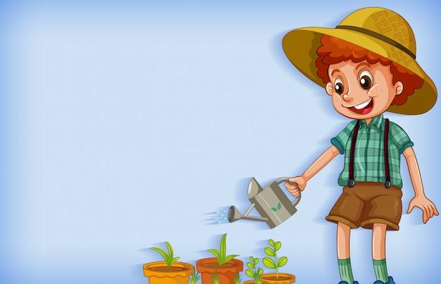 Tło szablonu projektu z chłopiec podlewania roślin