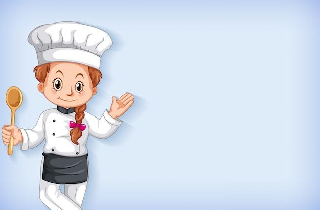 Tło szablonu projektu z szczęśliwy uśmiechnięty szefa kuchni