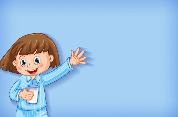 Tło szablonu projektu ze szczęśliwą dziewczyną w piżamie