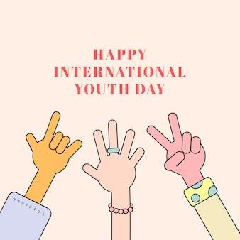 Tło szczęśliwego międzynarodowego dnia młodzieży