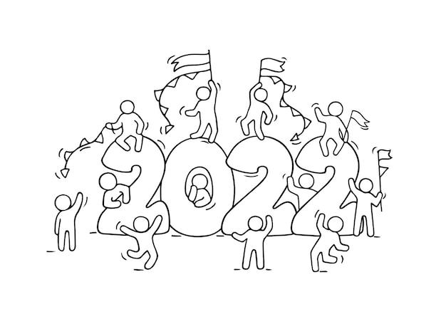 Tło szczęśliwego nowego roku 2022. ręcznie rysowane ilustracji wektorowych.