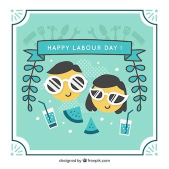 Tło szczęśliwy dzień pracy w niebieskich kolorach