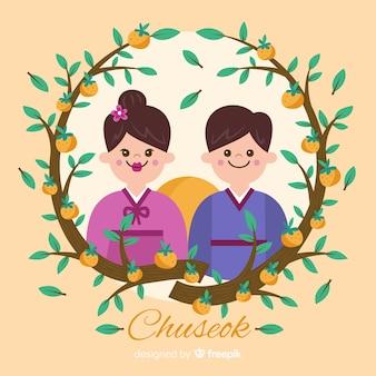 Tło szczęśliwy koreański chuseok