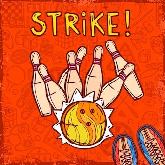 Tło szkic bowling