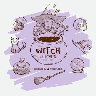 Tło szkiców czarownic i akcesoriów