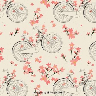 Tło szkiców rowerowych z kwiatami