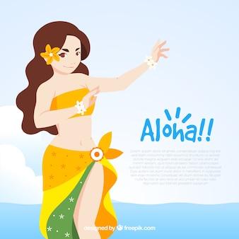 Tło Tancerki Aloha Premium Wektorów