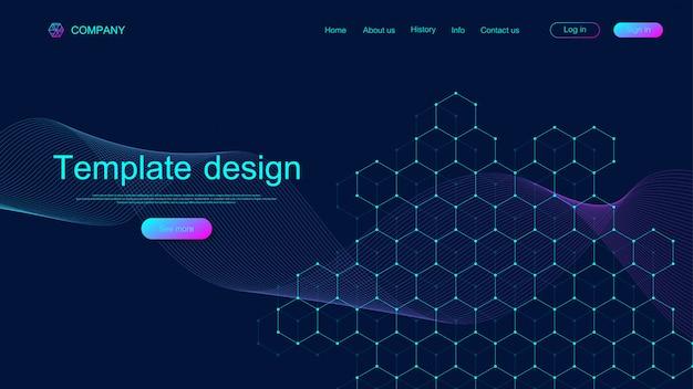 Tło techniczne strony docelowej z kolorowymi dynamicznymi falami i sześciokątnymi pudełkami. geometryczne streszczenie tło z linii i kropek, komórka kostki. projekt szablonu strony internetowej. ilustracja.