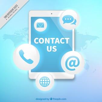 Tło technologicznych z telefonami kontaktowymi i ikon