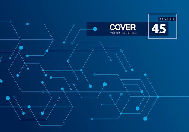 Tło technologii cyfrowej. wektor futurystyczny koncepcja cyfrowy. szablon biały wzór. niebieskie tło geometryczne. sieć połączeń internetowych wysokiej technologii cyfrowej.