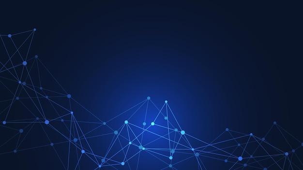 Tło technologii cyfrowej z łączeniem kropek i linii