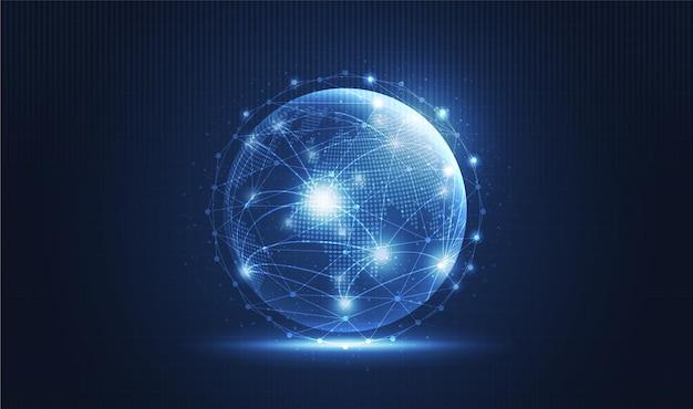 Tło technologii globalnej sieci z mapą świata lub siecią internetową do komunikacji w mediach społecznościowych