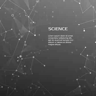 Tło technologii i nauki. wieloboczne tło. streszczenie sieci i węzłów. struktura atomu splotu. ilustracja