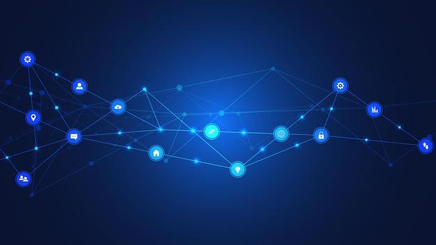 Tło technologii informacyjnej z elementami infografiki i płaskie ikony. technologia cyfrowa, połączenie sieciowe i koncepcja komunikacji. ilustracji wektorowych.