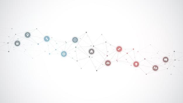 Tło technologii informacyjnej z elementami infografiki i płaskie ikony.
