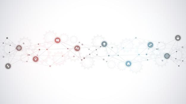 Tło technologii informacyjnej z elementami infografiki i płaskie ikony