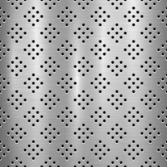 Tło technologii metalowej z perforowanym wzorem w kształcie koła i polerowanej, szczotkowanej tekstury, chromu, srebra, stali
