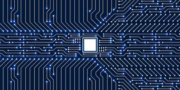Tło technologii mikroprocesorowej, wzór niebieskiej płytki cyfrowej