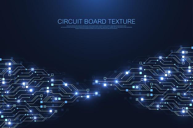 Tło technologii obwodu drukowanego z zaawansowanym technologicznie systemem połączenia danych cyfrowych.