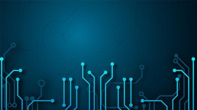 Tło technologii obwodu z zaawansowanym technologicznie systemem cyfrowego połączenia danych i komputerowym projektem elektronicznym