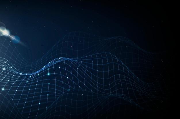 Tło technologii sieci internetowej z niebieską falą cyfrową