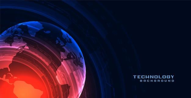 Tło technologii w kształcie ziemi
