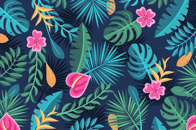 Tło tropikalnych kwiatów