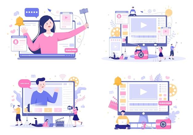Tło twórcy treści ilustracja wektorowa freelancer blogger i produkcja wideo vloggera, którą można wykorzystać do plakatu