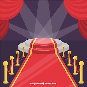 Tło uroczystości czerwony dywan w stylu płaski