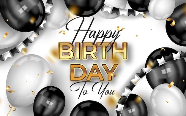 Tło uroczystości urodzinowych z realistycznymi balonami