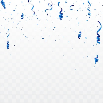 Tło uroczystości z konfetti i niebieskie wstążki