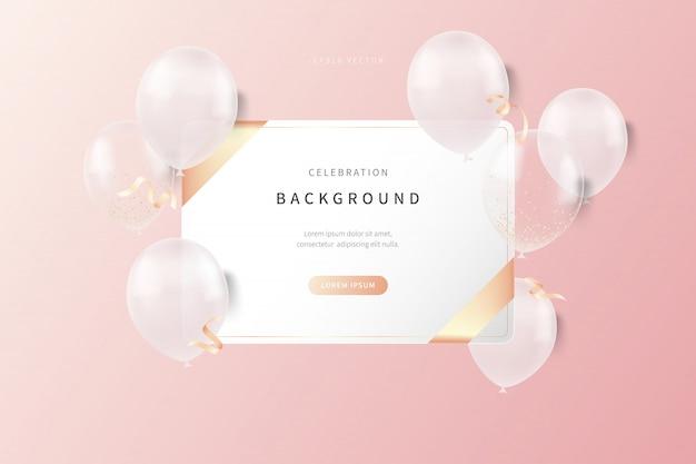 Tło uroczystości z miękkich kolorowych balonów realistycznych