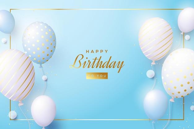 Tło urodzinowe z balonami na jasnym niebieskim tle