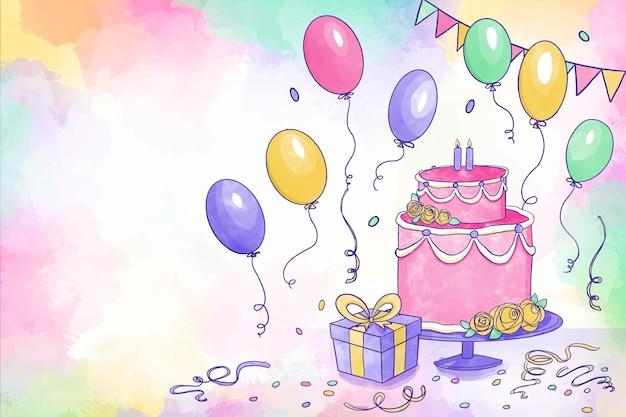 Tło urodziny akwarela