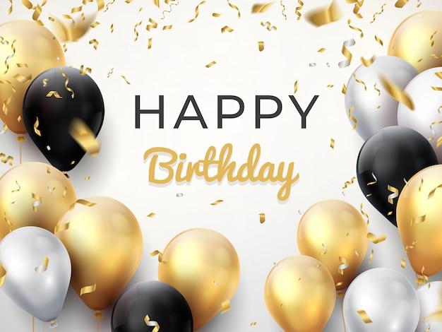 Tło urodziny balon. karta obchodów złotej rocznicy, błyszcząca ozdoba z życzeniami.