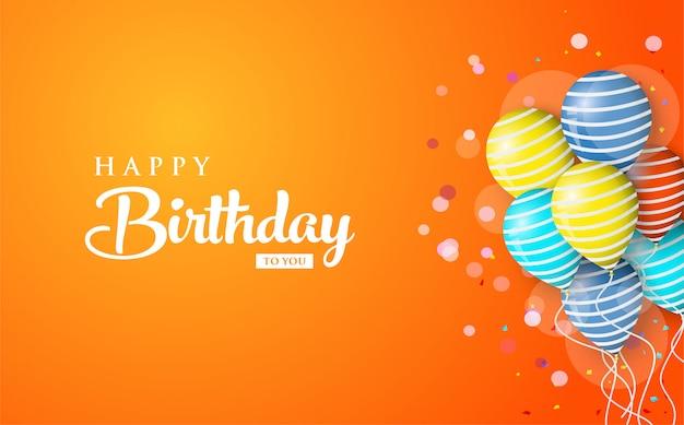 Tło urodziny pozdrowienia z kolorowych balonów