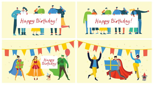 Tło urodziny. szczęśliwa grupa ludzi świętuje na jasnym tle.
