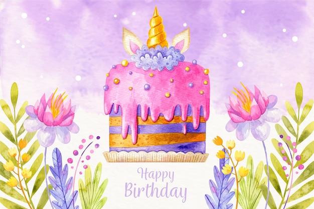 Tło urodziny tort akwarela
