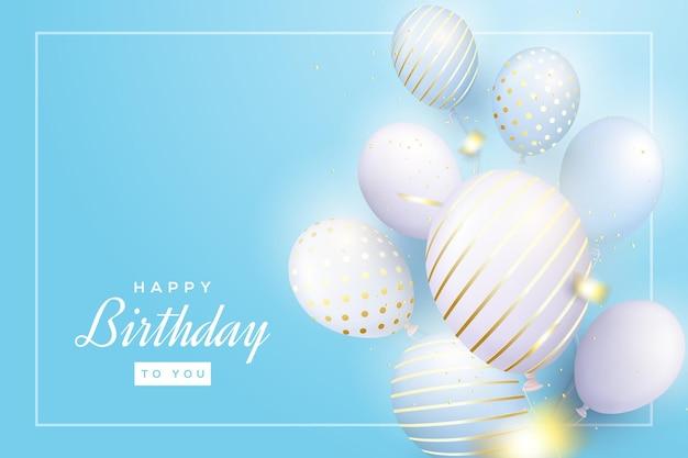 Tło urodziny z balonami 3d na niebieskim tle