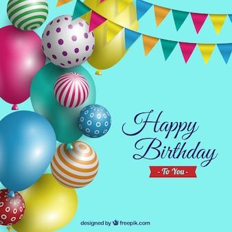 Tło urodziny z balonami realistycznych
