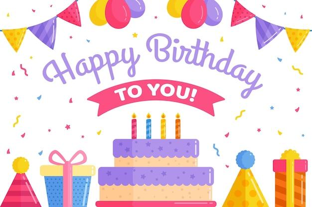Tło urodziny z balonów i girlanda