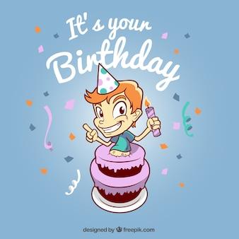 Tło urodziny z chłopca i ciasto