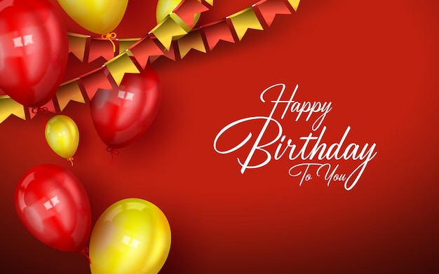 Tło urodziny z kolorowymi balonami