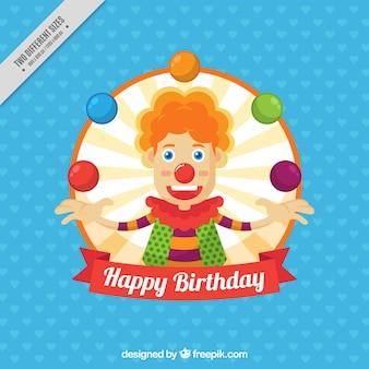 Tło urodziny z ładnym clown