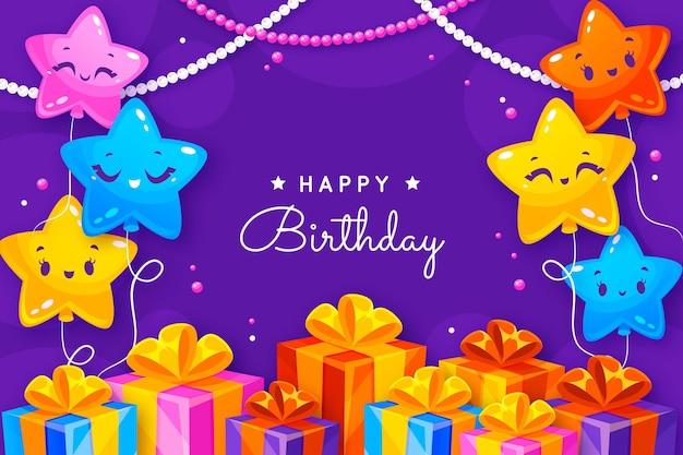 Tło urodziny z pozdrowieniami i płaskimi elementami