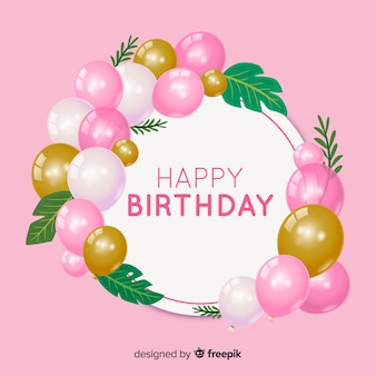Tło urodziny z realistycznymi balonami