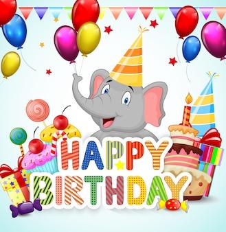 Tło urodziny z szczęśliwy kreskówka słoń