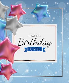 Tło urodziny zaproszenie z balonów. ilustracja