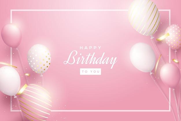 Tło urodziny ze świecącymi balonami